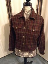 Fargo Clothing Women's Wool Blend Jacket Blazer  Coat Size Small Brown Plaid B48