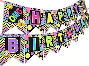 Emoji Rainbow Happy Birthday Banner Pennant Tween Birthday Teen Birthday