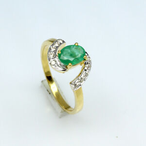 Natural Emerald Oval Cut Gemstone Pure 14k Yellow Gold Women Engagement Ring