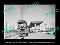 OLD LARGE HISTORIC PHOTO OF MARSHALL TEXAS, THE RAILROAD DEPOT STATION c1950
