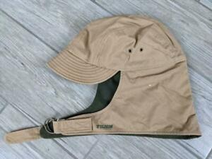 USA made FILSON vintage TRAPPER hunting hat M tan cotton MOLESKIN LINED