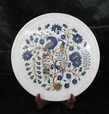 "White 8"" Round Marble Wall Plate Marquetry Peacock Floral Inlay Home Decor"