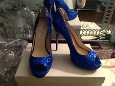 NIB Jimmy Choo Glitter Platform Pumps Shoes Ladies Size 9 39 $745 Blue