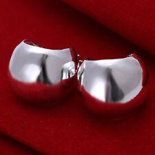 wholesale sterling solid silver bright fashion Hoop earrings +box DE34