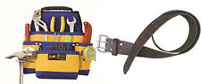 10 Pocket Contractors Tool Pouch Bag + Leather Waist Tool Belt