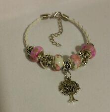 Leather Bracelet Murano Glass Bead White Pink European Style Fashion Jewelry