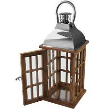 Holzlaterne Windlicht Kerzenhalter Gartenlaterne mit Metalldach Gartendeko 40cm
