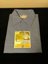 New listing Nos Vintage Sears Long Tail Work Shirt Perma-Prest Short Sleeves Blue Medium