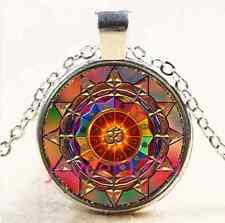 Om Symbol Mandala Cabochon Tibetan silver Glass Chain Pendant Necklace #4025