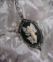 Angel Cameo Necklace Silver Faith Guardian Wings Christian GIFT CHRISTMAS XMAS