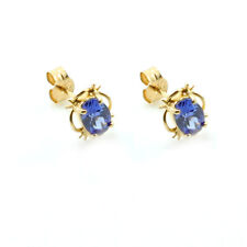 9ct Yellow Gold Tanzanite C/Z Stud Earrings LIghtweight - Leatherette Boxed