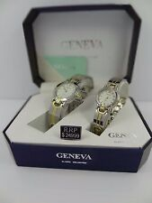 Geneva Men's & Women's Two Tone White Dial Classic Collection Watch Set G-36