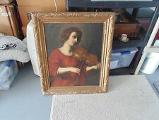 Antique Canvas Oil Painting Young Lady Portrait Playing Violin American School ?