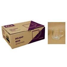 6 x Glass Coffee Tea Mug Cup Clear With Handle 300ml