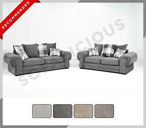 CHESTERFIELD VERONA 3+2 SOFA SET Fabric Grey Armchair Scatter Back