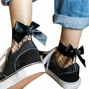 Ladies Fishnet Ankle Socks with Bow Women High Quality Elastic Net Sock Fashion