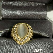 Teardrop Moonstone Cubic Zirconia Gold Tone Statement Ring Size 9 NIB $30.00
