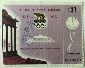 1960 Rome Olympics- Basketball - Jerry West Signed Ticket - Team USA - LA Lakers