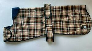 """Danish Design Classic Checked Fleeced Lined Dog Coat - Navy/Red/Beige 24"""" #6A107"""