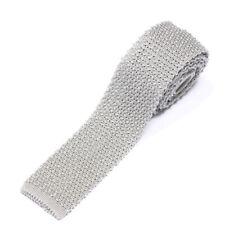 TODD SNYDER Light Gray Woven Square Tip Men's Silk Neck Tie