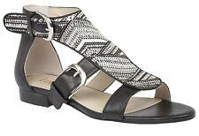 Ladies Casual Buckle Sandal Lotus Hixson Black Multi Rafia UK Size 3 - 7