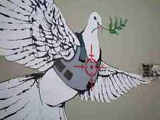Banksy Dove In Bullet Proof Jacket A3 Sign Aluminium Metal Large