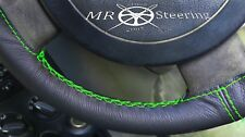 FOR NISSAN PATROL 1997-10 BLACK LEATHER STEERING WHEEL COVER GREEN DOUBLE STITCH