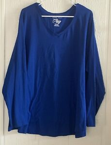Just My Size Blue Long Sleeve Pullover Shirt, Women's Plus Size 5X,
