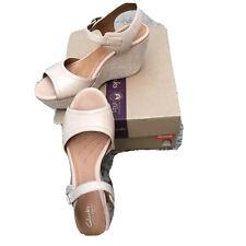 Clarks Nadana Lola Women h2 Beige Leather Espadrille Wedge Platform Sandal 9.5 M