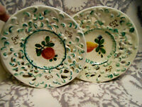 "Set of Two [2] Vintage Italy Pierced 8 1/4"" plates Apple Pear designs"