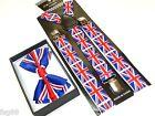 NEW PATRIOTIC UK United Kingdom Union Jack England Suspenders and Bow Tie
