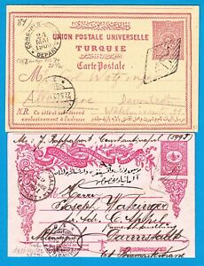 TURKEY 2 postal cards 1900-01 Constantinopel to Darmstadt -Germany