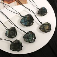 Wrap Heart Labradorite Necklace Natural Stone Pendant Crystal Moonstone