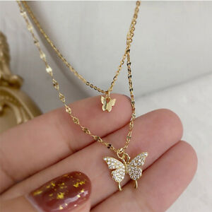 Fashion 18K Gold Double Butterfly Zircon Necklace Clavicle Women Jewelry Gifts