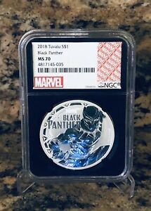 2018 Tuvalu MARVEL Black Panther 1 oz $1 Solid Silver Coin .999 NGC MS 70 MS70