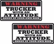 "2 - 3""x1.5"" Trucker Warning Attitude Decal SET Tools Motorcycle Sticker WS1"