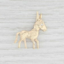 Diamond Donkey Brooch 14k Yellow Gold Animal Pin