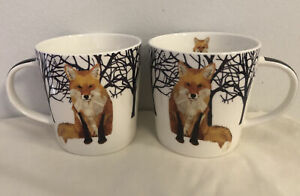 2 Winter Fox Coffee Mugs 13.5oz Tea Cup Gift Two Can Art PPD Woodland Creatures