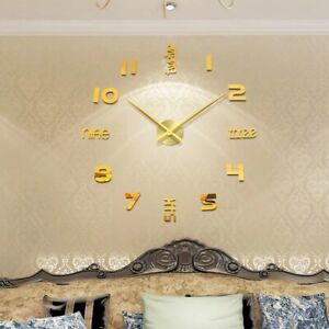 "48"" Large Wall Clock Sticker Acrylic Silent Digital Big 3D DIY Wall Clock Modern"