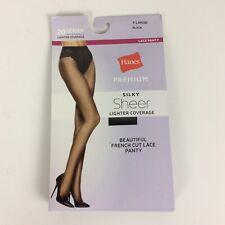 Hanes Premium Pantyhose XL Black French Cut Lace Panty Silky Sheer Leg Toe