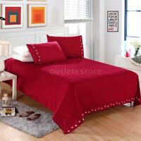 4Pcs Bedding Sheet Set Quilt Cover Pocket Twin Full Queen King Size Home Y0O2