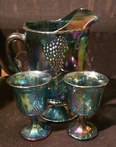 Indiana Glass: Carnival Glass Pitcher+2 Goblets Harvest Grape Pattern