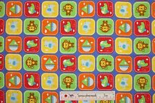 Rockaby Baby Boy Patch Blue Planes Boats Monkeys Cotton Flannel Fabric  BTY (H)<