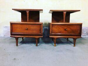 Kent Coffey Mid Century Modern Walnut End Tables Nightstands Vintage