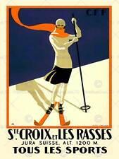 Viaggio sport invernali ST CROIX Svizzera ALPINA SCI VINTAGE POSTER ART 2584py