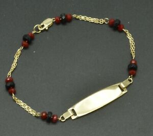 """14K Yellow Solid Gold 6"""" ID Ruby & Onyx  chain Bracelet For Kids  1.9gr"""