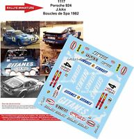 DECALS 1/43 REF 1117 PORSCHE 924 JACKY ICKX RALLYE BOUCLES DE SPA 1982 RALLY