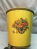 Vtg Yellow Metal Trash Can With Flower Cart on side Large 14.5in Tall 13.5 diam