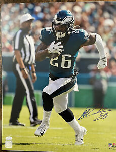 Miles Sanders IMPERFECT Autograph Signed Eagles 16x20 Photo JSA WITNESSED COA