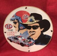 VINTAGE STYLE PORCELAIN  STP RICHARD PETTY GAS AND OIL SIGN ROUND WITH RACECAR